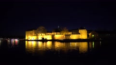 Vaxholm Fortress at night. Stock Footage