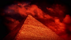 Red Sky Over Pyramid Esoteric Concept Stock Footage