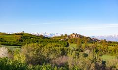Italian landscape: the hill around the village of Belvedere Langhe, near Alba Stock Photos