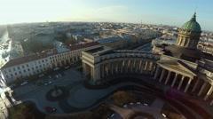 Aerial view. Kazan Cathedral in St. Petersburg. 4K. Stock Footage