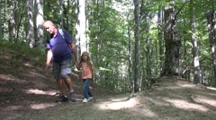 4K Father, Child Walking Mountain Trail, Paths, Family Hiking in Forest, Camping Stock Footage