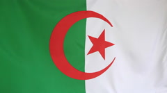 Textile flag of Algeria Stock Footage