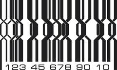 Abstract geometric ornate design barcode labels style. Vector illustration. - stock illustration