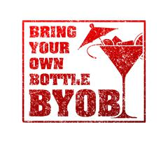 Rubber stamp with silhouette of martini and the word BYOB - Bring Your Own Bo - stock illustration