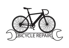 Bicycle repair with composition a silhouette of bicycle on stylized wrench - stock illustration