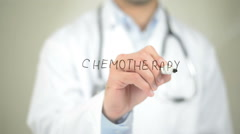 Chemotherapy , Doctor writing on transparent screen Stock Footage