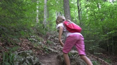 4K Mother, Child Walking Mountain Trail, Paths, Family Hiking in Forest, Camping Stock Footage