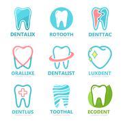 Set of tooth logo design template. Dental logo. Dental clinic logo. Tooth logo Stock Illustration