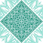 Seamless Square Abstract Tribal  Pattern. Hand Drawn Ethnic Texture. Stock Illustration