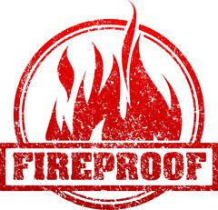 Abstract red grunge rubber stamp with caption FIREPROOF and blazing fire - stock illustration