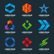 Set of abstract logo design template. Abstract logo. Swirl logo. Circle logo - stock illustration
