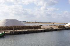 Salt-mine in Trapani, Sicily. Italy - stock photo