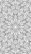 Rich decorated calligraphic outlined stroke monochrome seamless pattern. Vect Stock Illustration