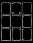 Set of nine simple stylish decorative frames on a black background. - stock illustration