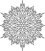 Outlines of snowflake in mono line style for coloring, coloring book. Vector  Stock Illustration