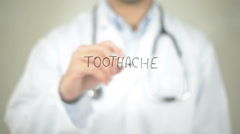 Tooth Ache , Doctor writing on transparent screen Stock Footage