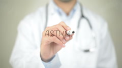 Asthma , Doctor writing on transparent screen - stock footage