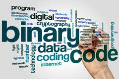 Binary code word cloud Stock Photos