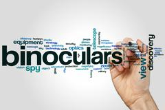 Binoculars word cloud Stock Photos