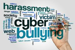 Cyber bullying word cloud Stock Photos