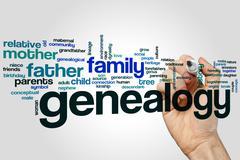 Genealogy word cloud - stock photo
