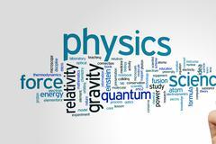 Physics word cloud - stock photo