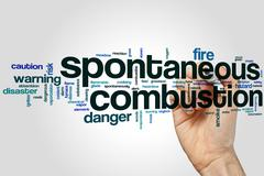 Spontaneous combustion word cloud - stock photo