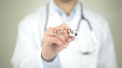 Ageing , Doctor writing on transparent screen Stock Footage