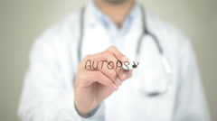 Autopsy , Doctor writing on transparent screen Stock Footage