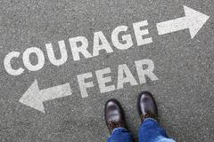 Courage and fear risk safety future strength strong business man concept busi Stock Photos