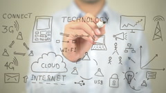 Technology, Concept Illustration,  Man writing on transparent screen Stock Footage