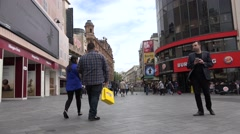4K People Walking, Shopping in Leicester Square, London, Burger King View Stock Footage