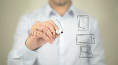 WiFi, Concept Illustration,  Man writing on transparent screen Stock Footage