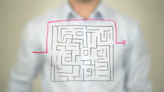 Maze, Shortest Path to Success, Drawing on transparent screen Stock Footage