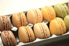 Pastel colored macarons Stock Photos