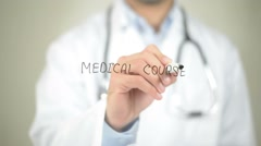Medical Courses, Doctor writing on transparent screen Stock Footage