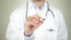 Dentistry, Doctor writing on transparent screen - stock footage
