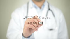 International Medicine, Doctor writing on transparent screen - stock footage
