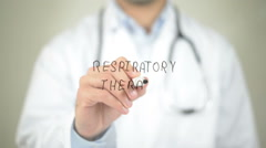 Respiratory Therapy, Doctor writing on transparent screen Stock Footage