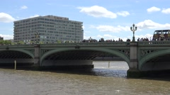 4K St Thomas Hospital in London, Cars, Buses Traffic View on Westminster Bridge Stock Footage