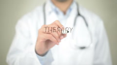 Therapy, Doctor writing on transparent screen Stock Footage