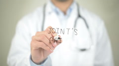 Joint's Pain, Doctor writing on transparent screen Stock Footage