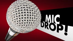 Mic Drop Microphone Falling Final Words Animation 3d Illustration Stock Footage