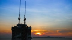 construction at sunset, time lapse - stock footage