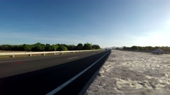 Car passing on an inter province Freeway lane Stock Footage