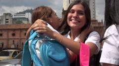 Happy Prep School Friends Reunite Stock Footage