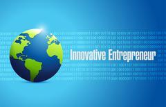 Innovative entrepreneur binary globe sign Stock Illustration