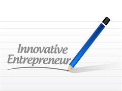 Innovative entrepreneur message sign Stock Illustration