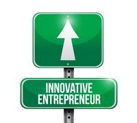 Innovative entrepreneur street sign Stock Illustration