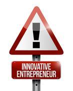 Innovative entrepreneur warning sign Stock Illustration